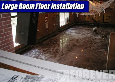 Large Room Floor Installation Overlay Stained